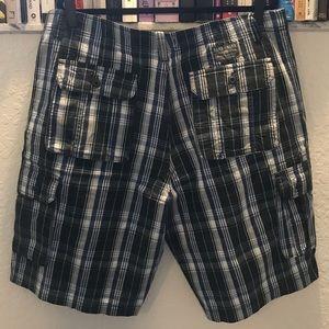 Ecko Unlimited Shorts - EUC Ecko Unltd Green Blue White Plaid Cargo Shorts